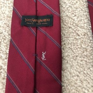 Red striped YSL Yves Saint Laurent tie
